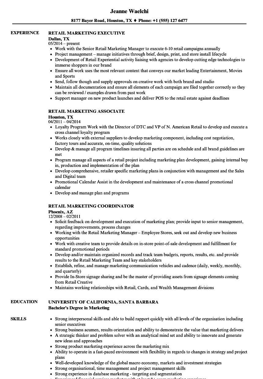 Retail Marketing Resume Samples Velvet Jobs