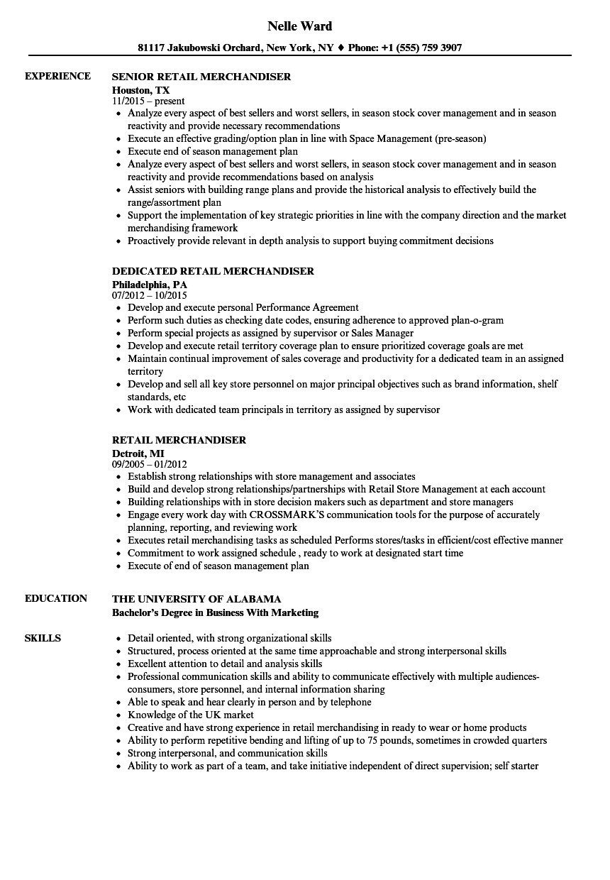 Retail Merchandiser Resume Samples Velvet Jobs