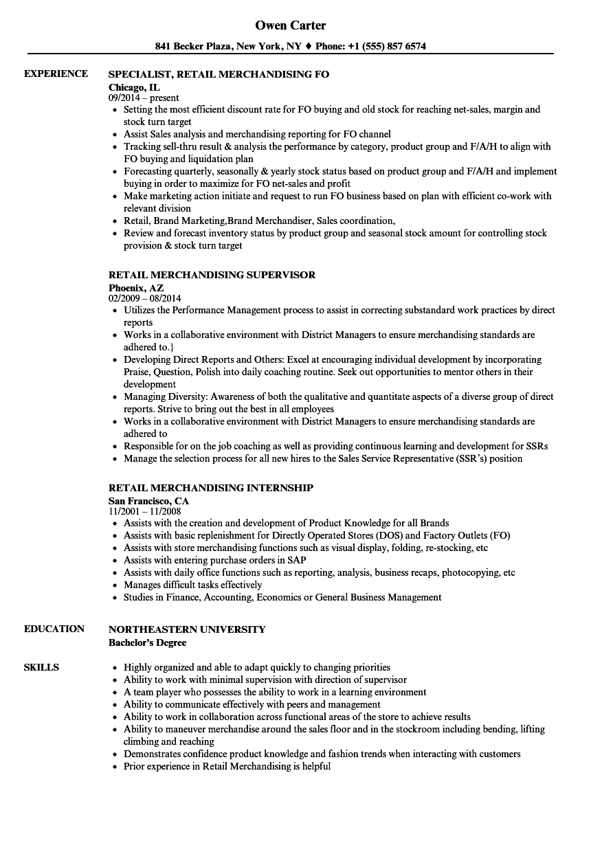 retail merchandising resume samples