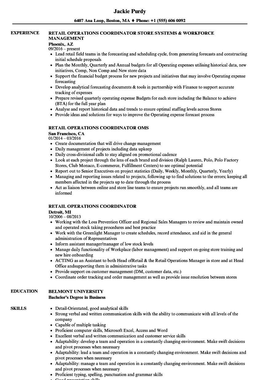 Retail Operations Coordinator Resume Samples | Velvet Jobs