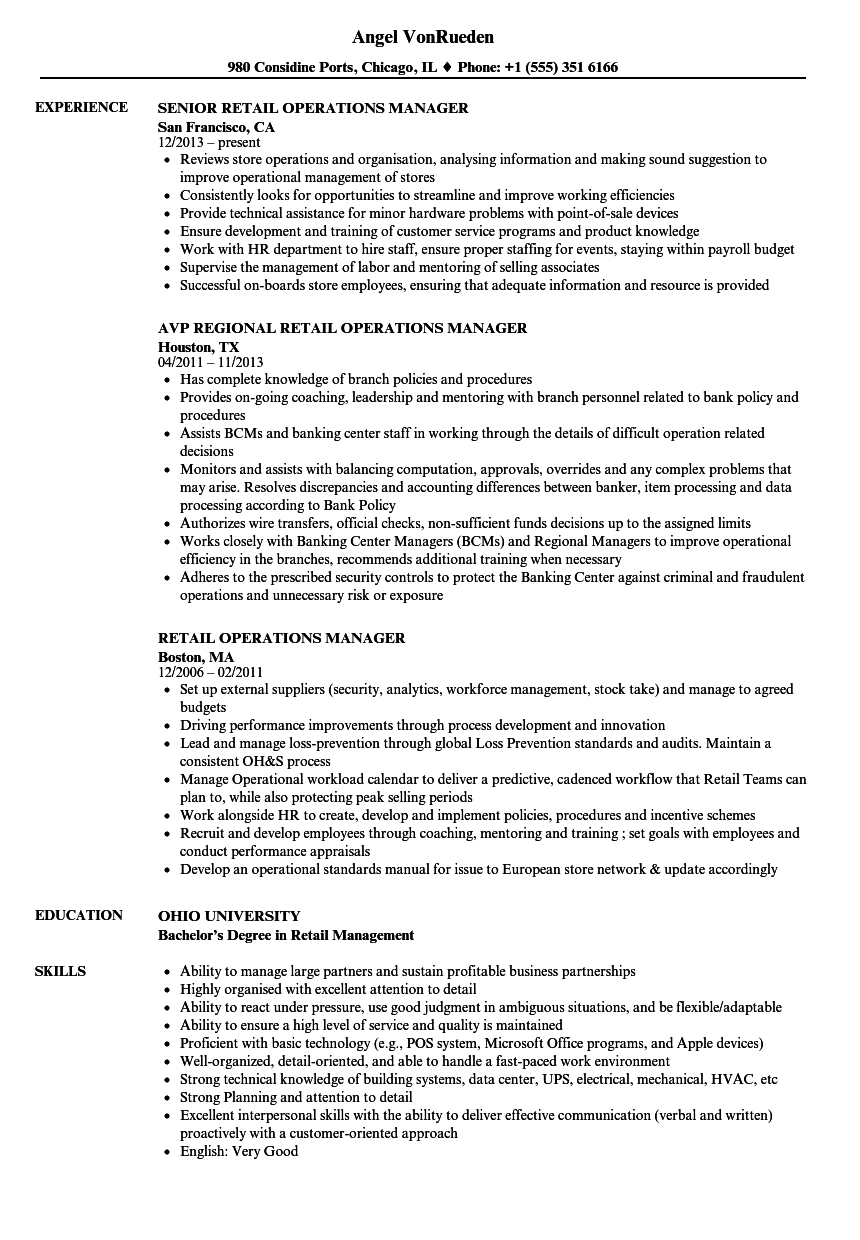 Retail Operations Manager Resume Samples Velvet Jobs