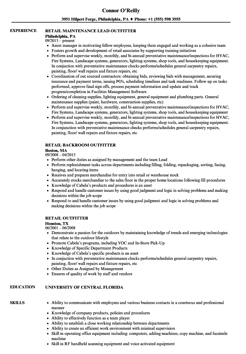 retail outfitter resume samples