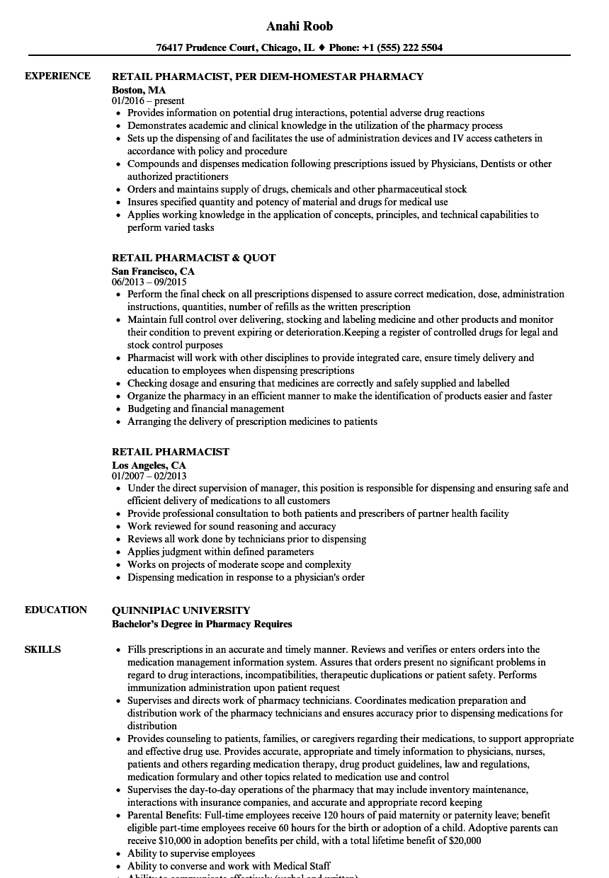 retail pharmacist resume samples velvet jobs