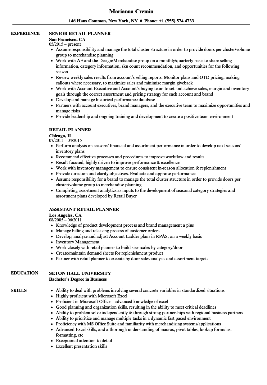 download retail planner resume sample as image file - Retail Resume