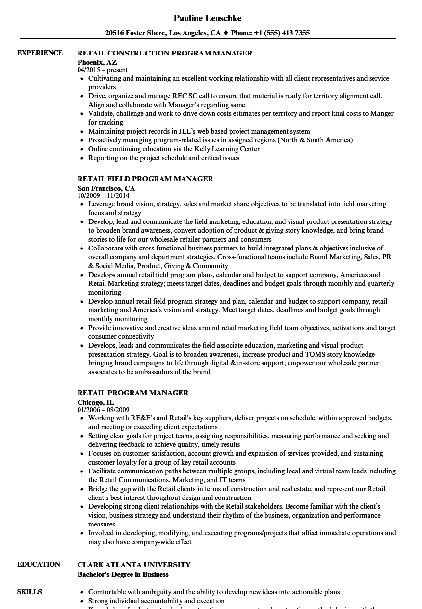retail program manager resume samples