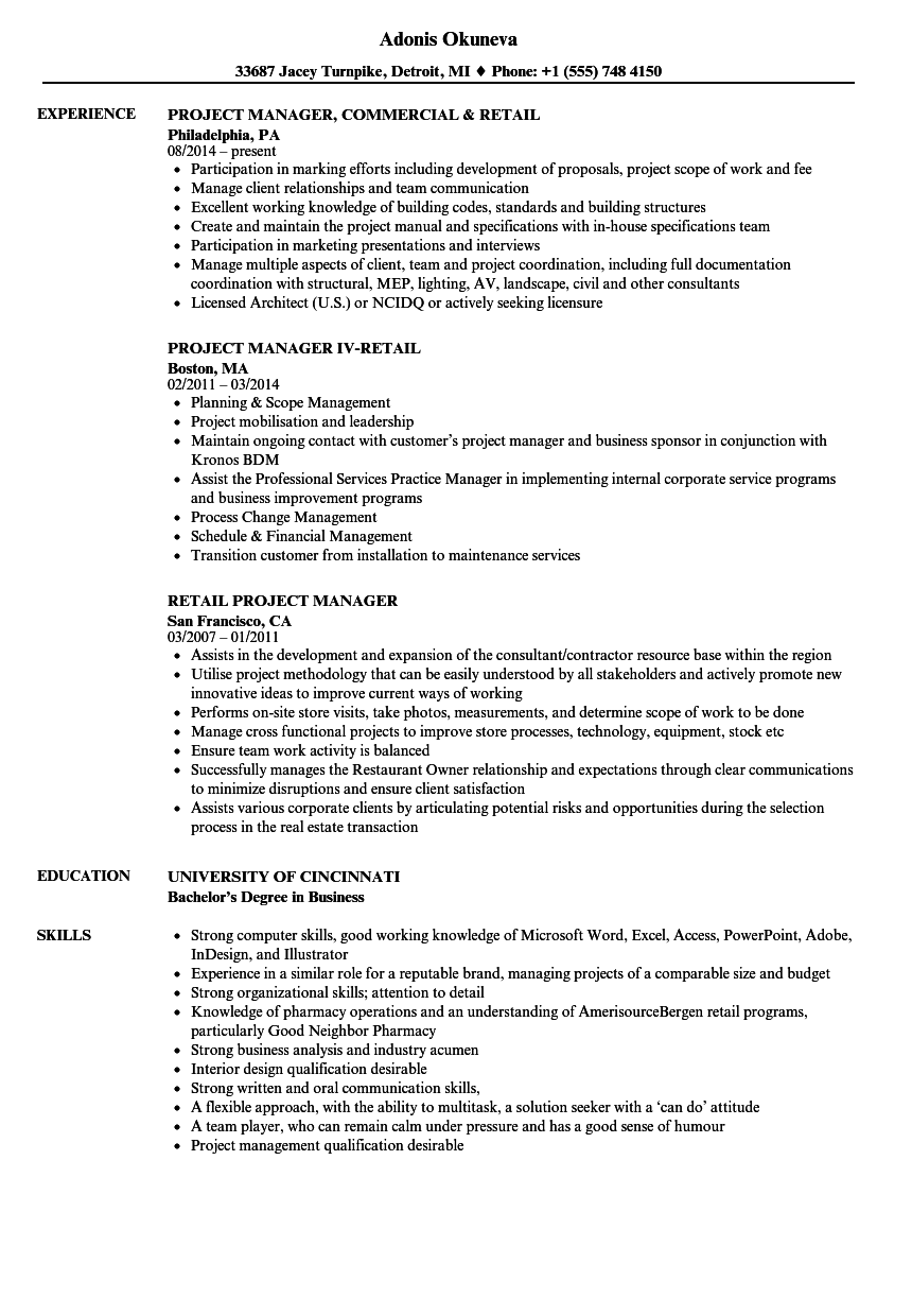 Retail Project Manager Resume Samples | Velvet Jobs