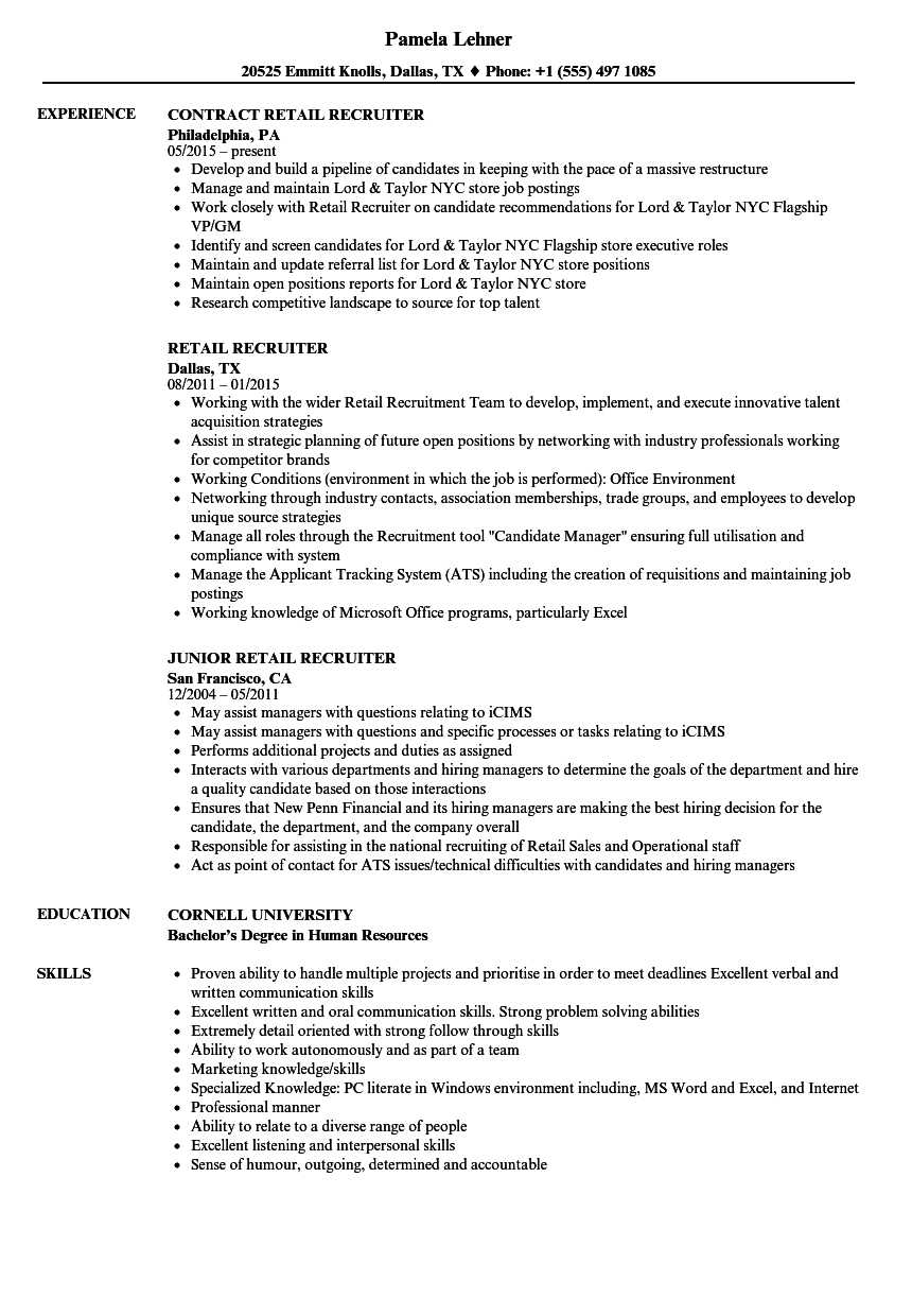 retail recruiter resume samples