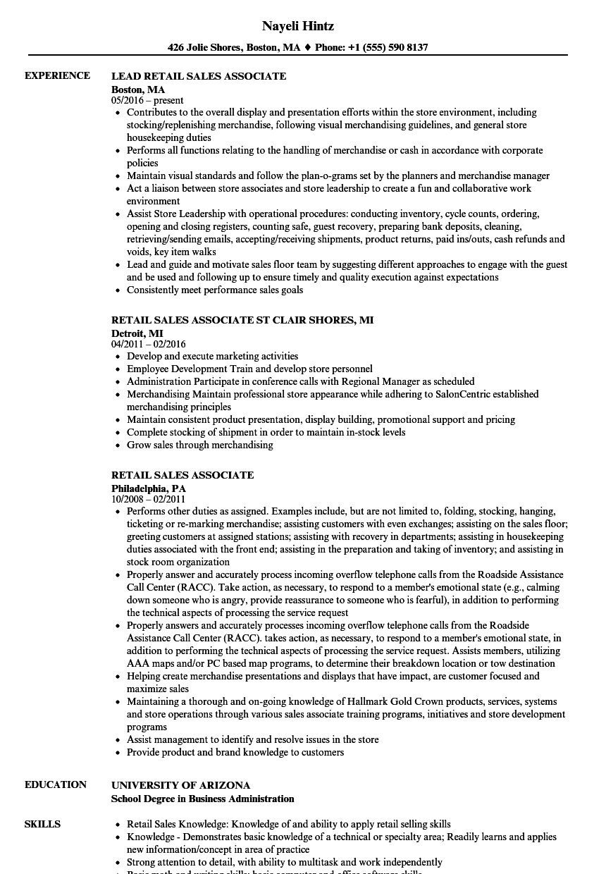 Retail Sales, Associate Resume Samples | Velvet Jobs