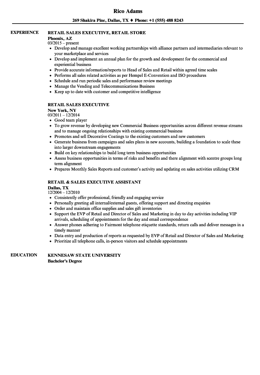 retail sales executive resume samples velvet jobs
