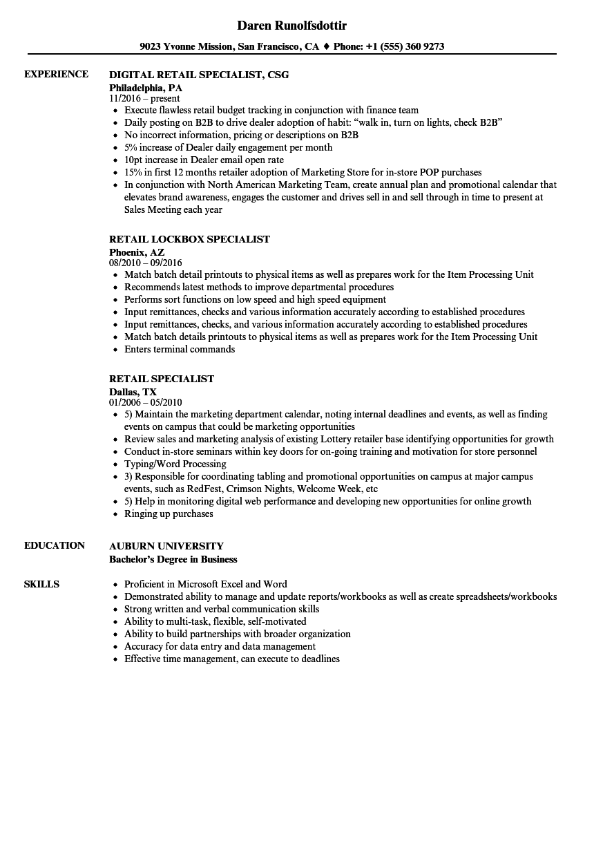 retail specialist resume samples