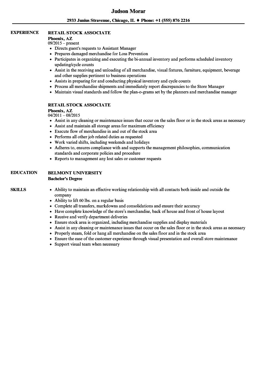 Retail Stock Associate Resume Samples | Velvet Jobs