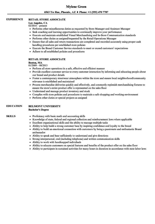 retail store associate resume samples
