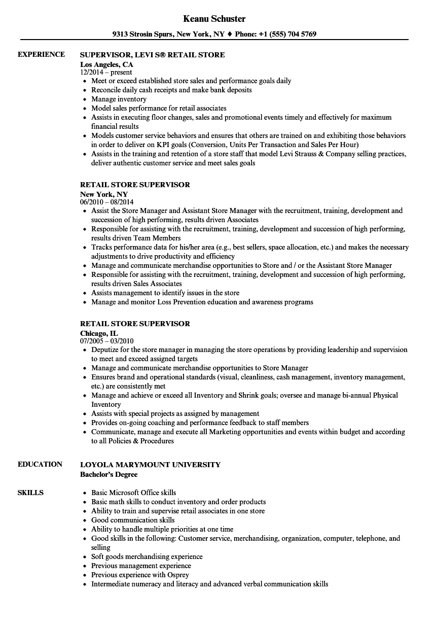 Retail Store Supervisor Resume Samples | Velvet Jobs