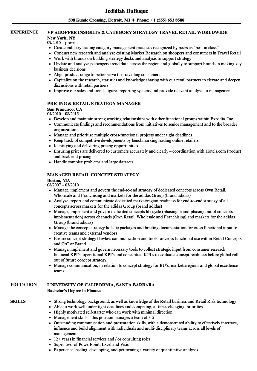 download retail strategy resume sample as image file - Resume Samples