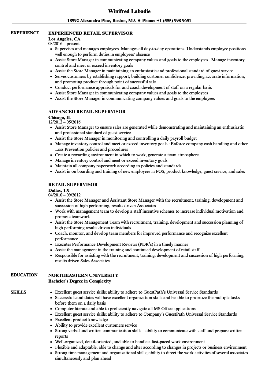 sample resume retail supervisor position