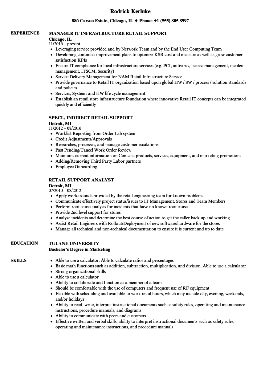 retail support resume samples