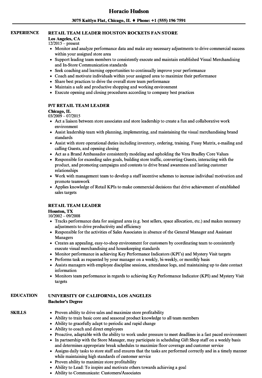 Download Retail Team Leader Resume Sample As Image File