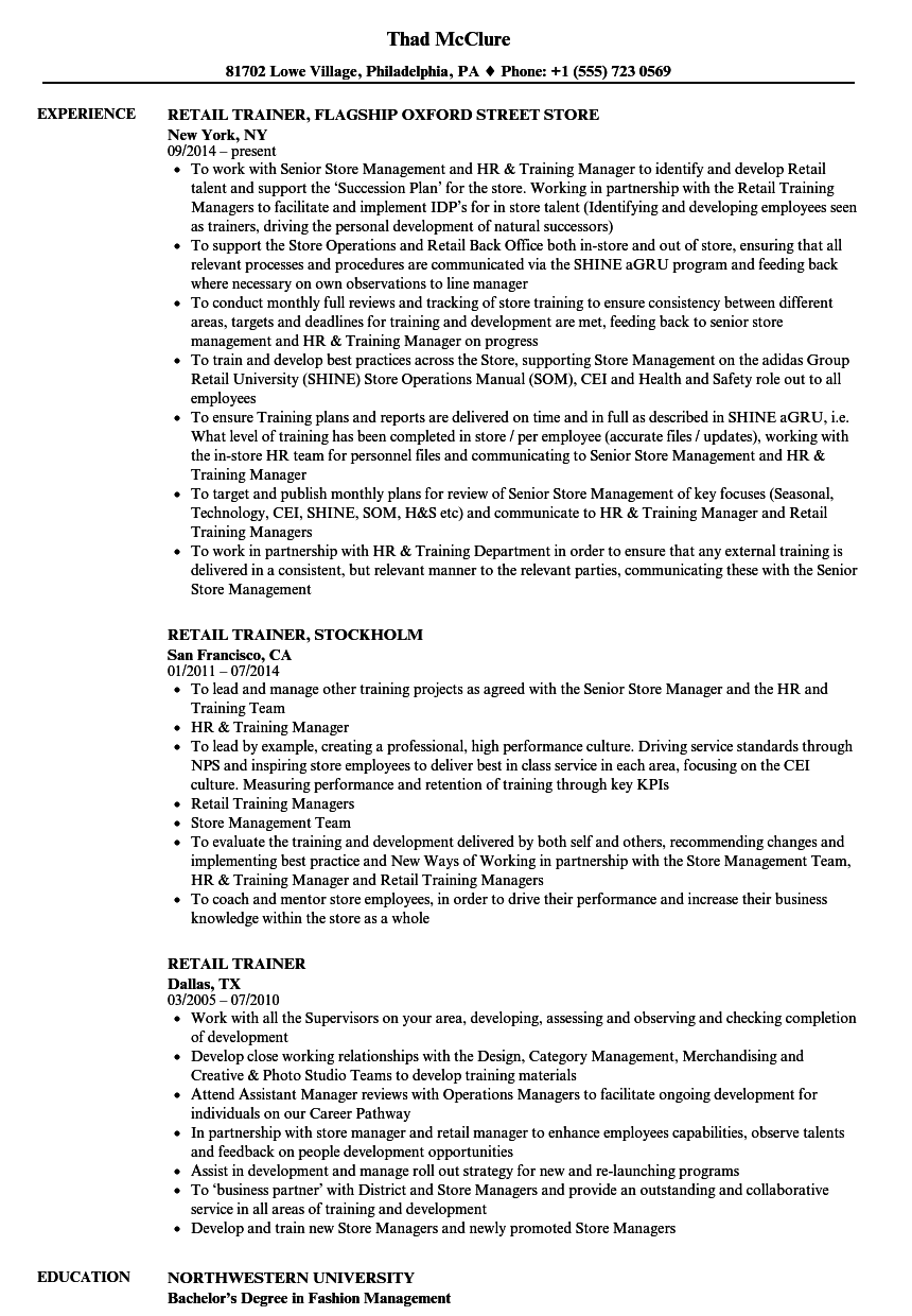 Download Retail Trainer Resume Sample As Image File