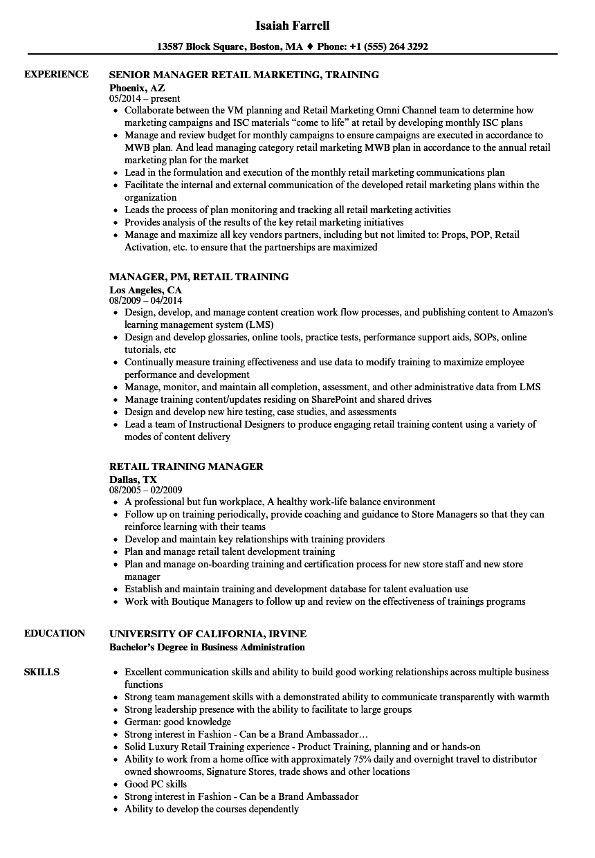 retail training manager resume samples