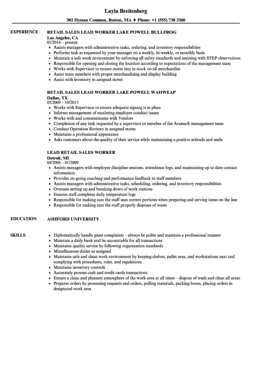 Retail Worker Resume Samples Velvet Jobs
