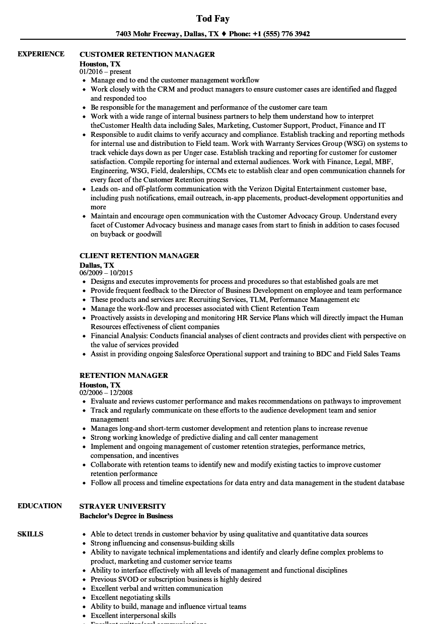 retention manager resume samples