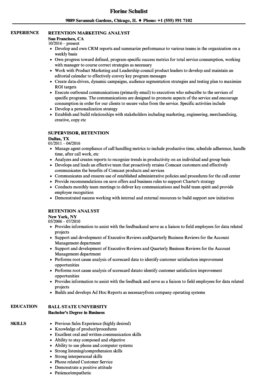 retention resume samples