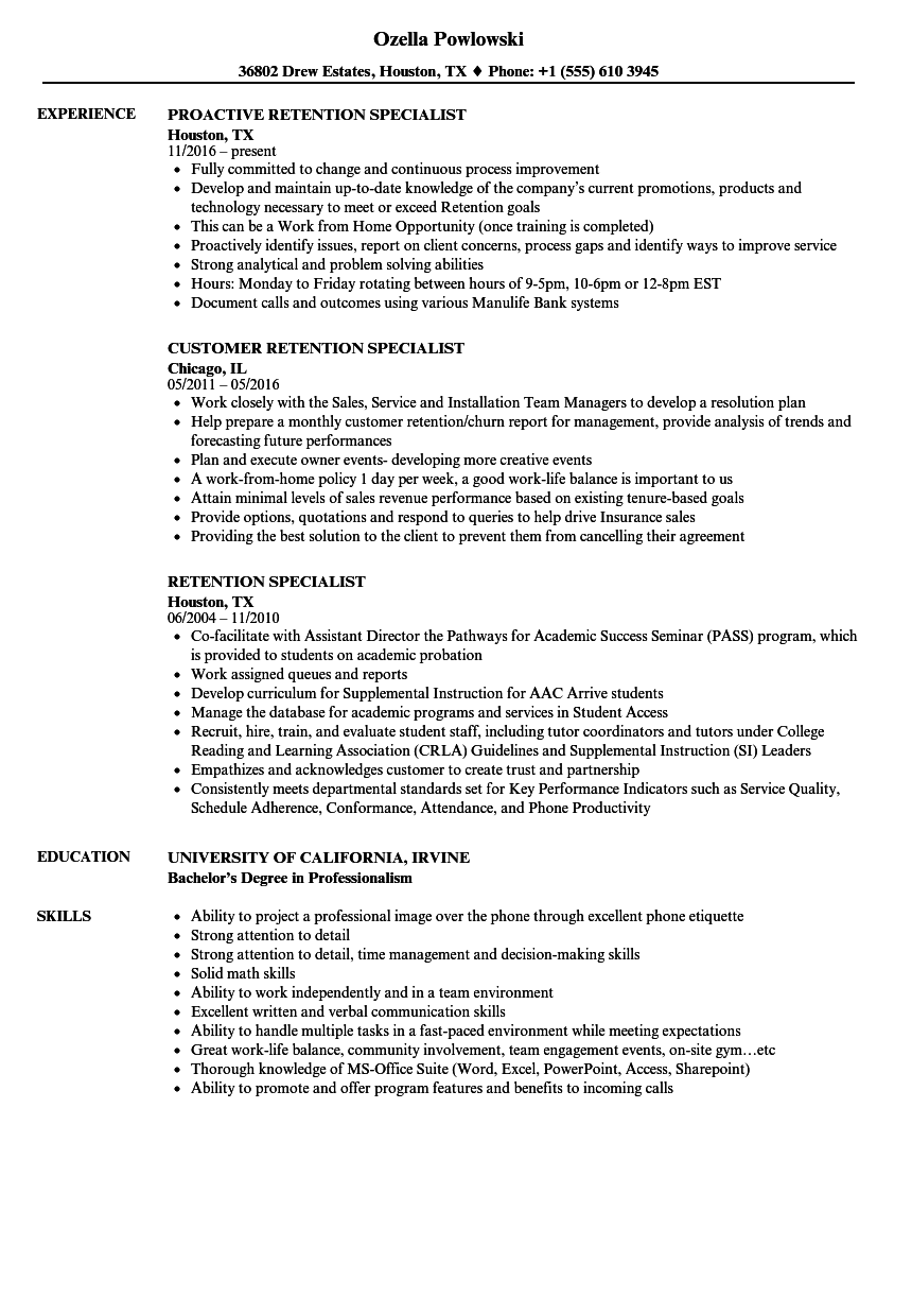 retention specialist resume samples velvet jobs