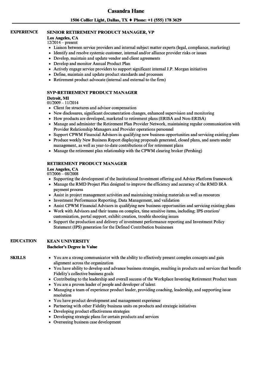 Retirement Product Manager Resume Samples Velvet Jobs