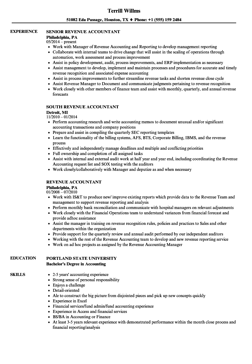 Revenue Accountant Resume Samples | Velvet Jobs