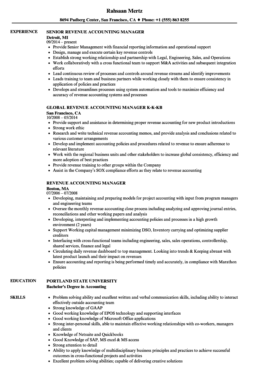 revenue accounting manager resume samples velvet jobs
