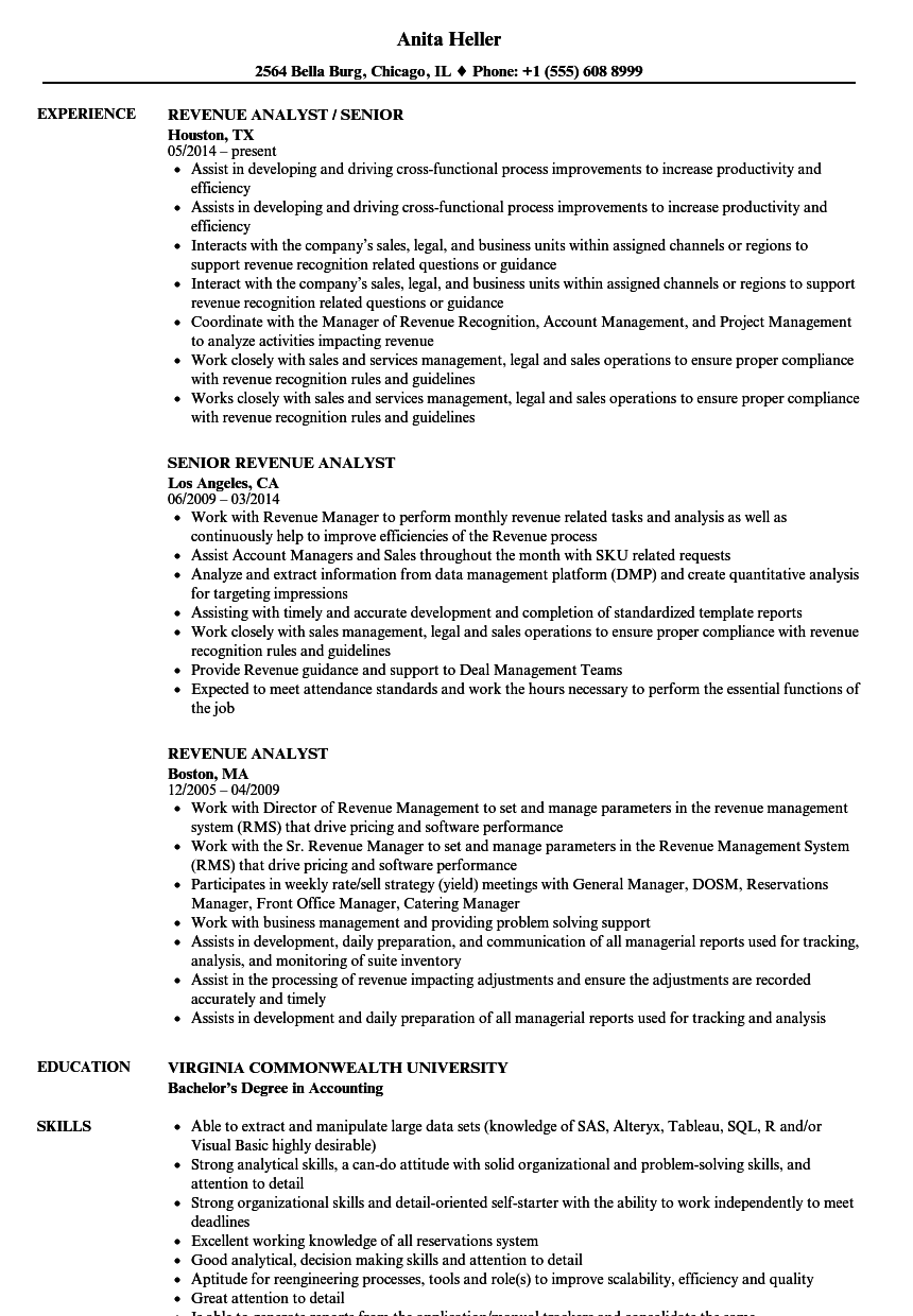 Revenue Analyst Resume Samples | Velvet Jobs