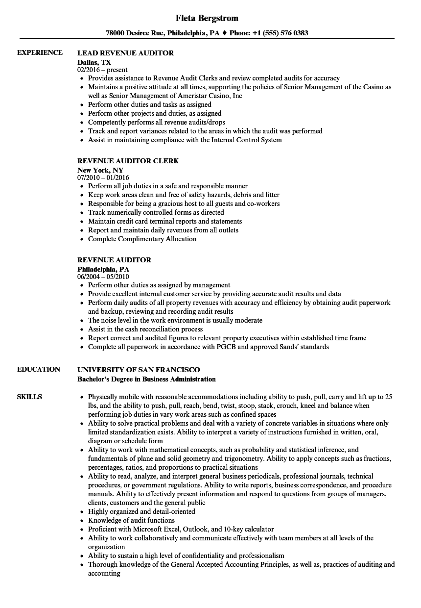 Revenue Auditor Resume Samples | Velvet Jobs