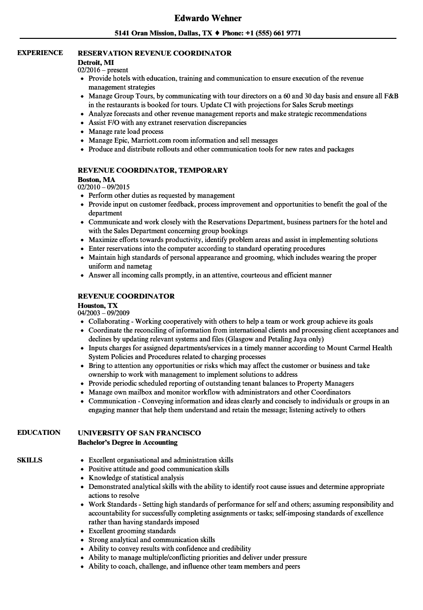 Revenue Coordinator Resume Samples