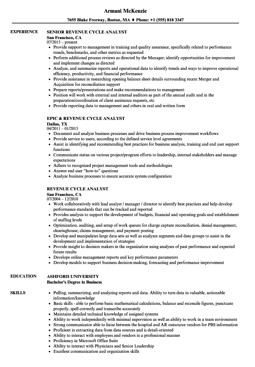 revenue cycle analyst resume samples