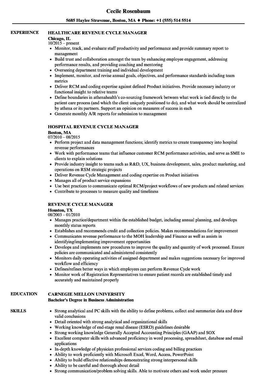 revenue cycle manager resume samples velvet jobs