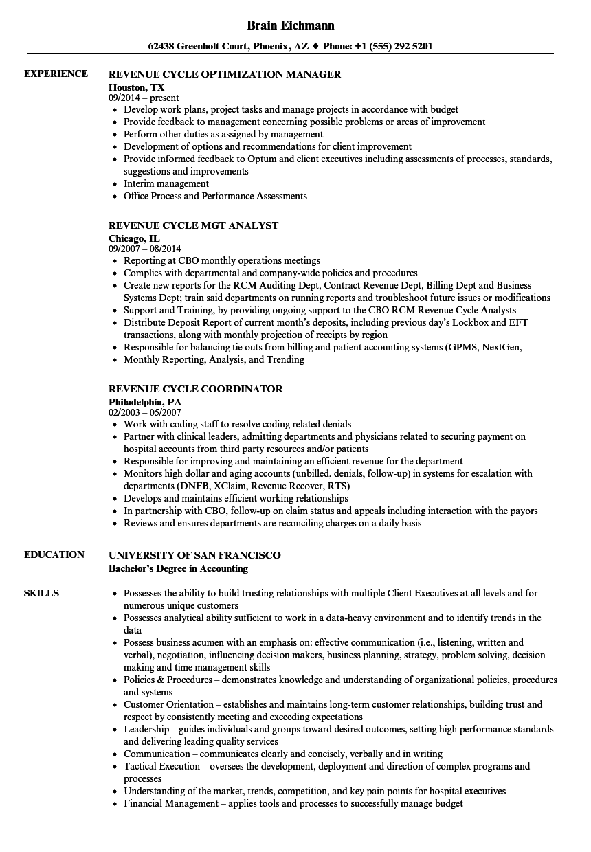 Revenue Cycle Resume Samples | Velvet Jobs