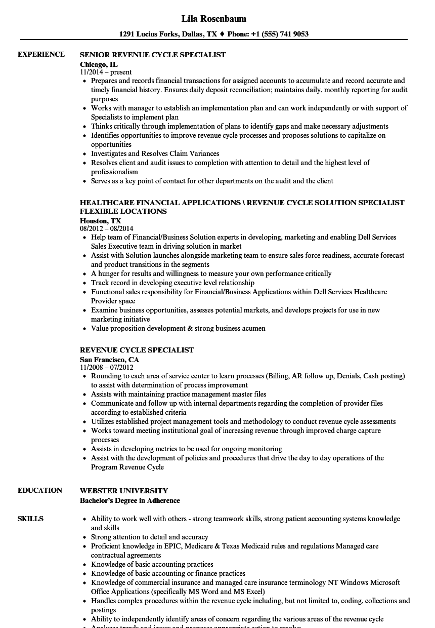revenue cycle specialist resume samples