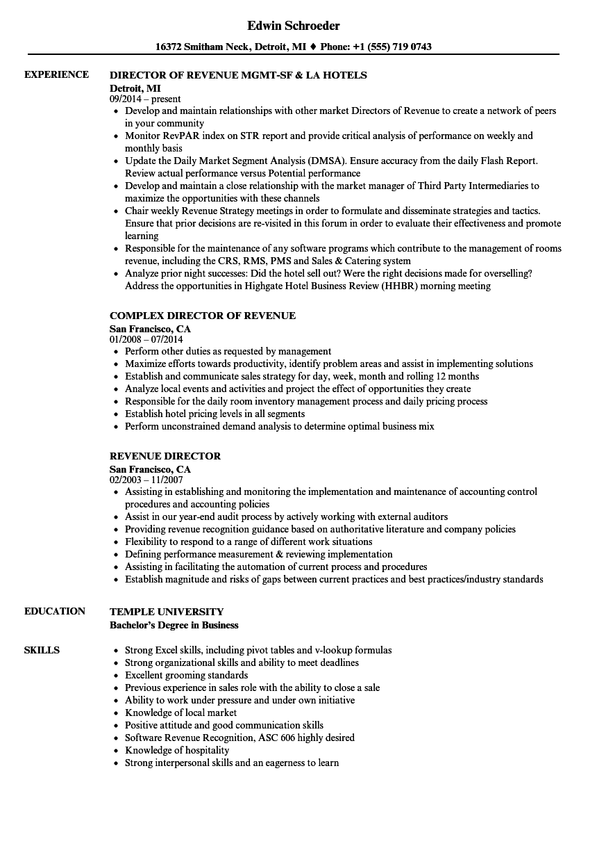 revenue director resume samples