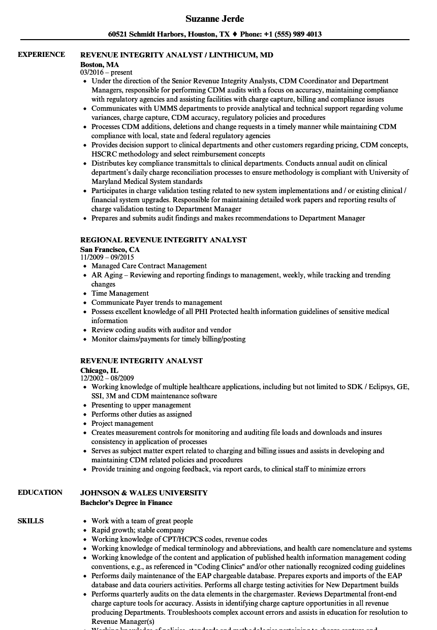 revenue integrity analyst resume samples