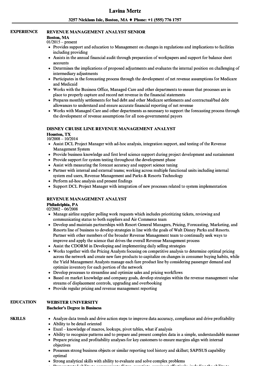 Download Revenue Management Analyst Resume Sample As Image File