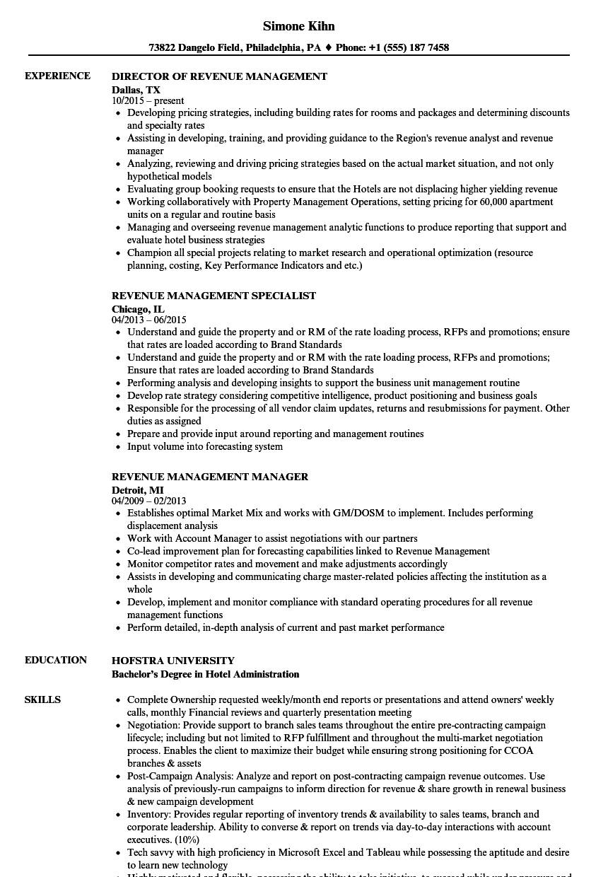 Revenue Management Resume Samples | Velvet Jobs