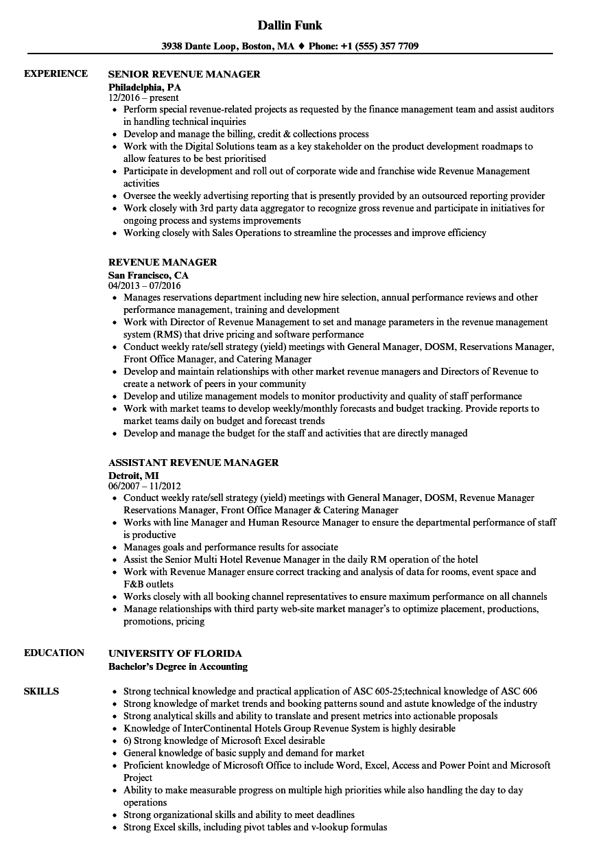 revenue manager resume samples velvet jobs
