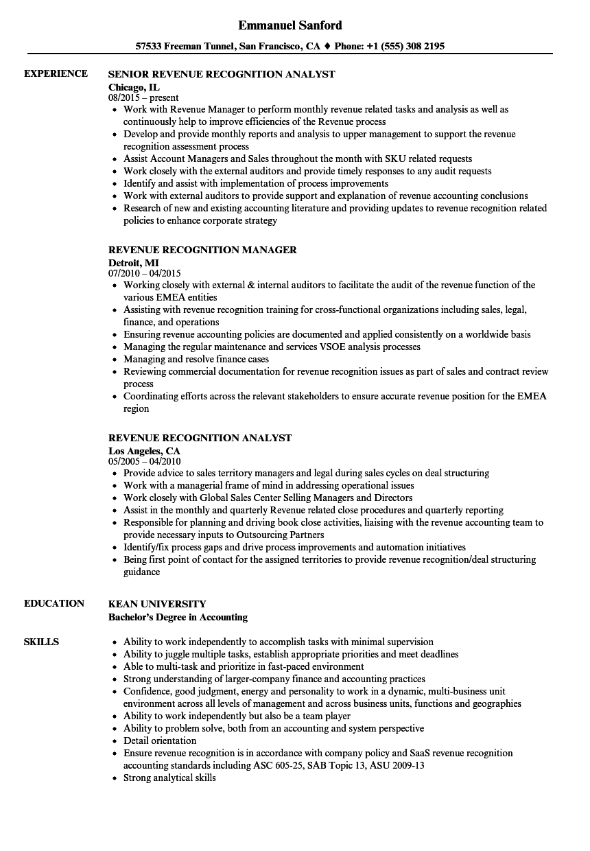 revenue recognition resume samples velvet jobs