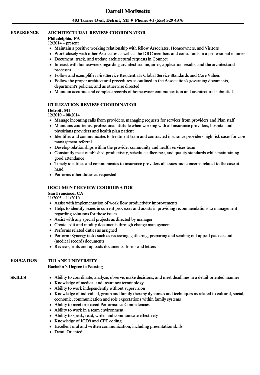review coordinator resume samples