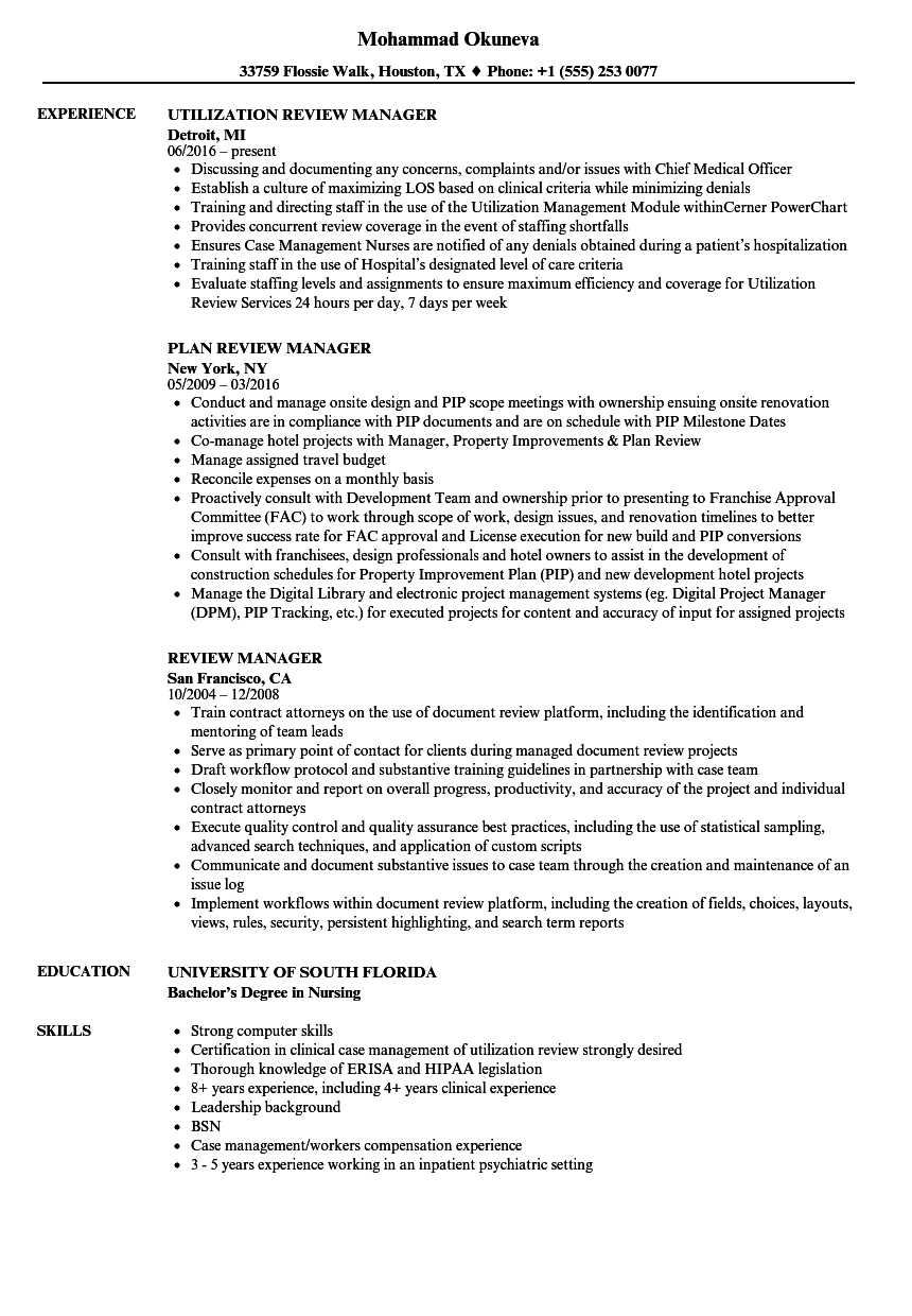 review manager resume samples velvet jobs