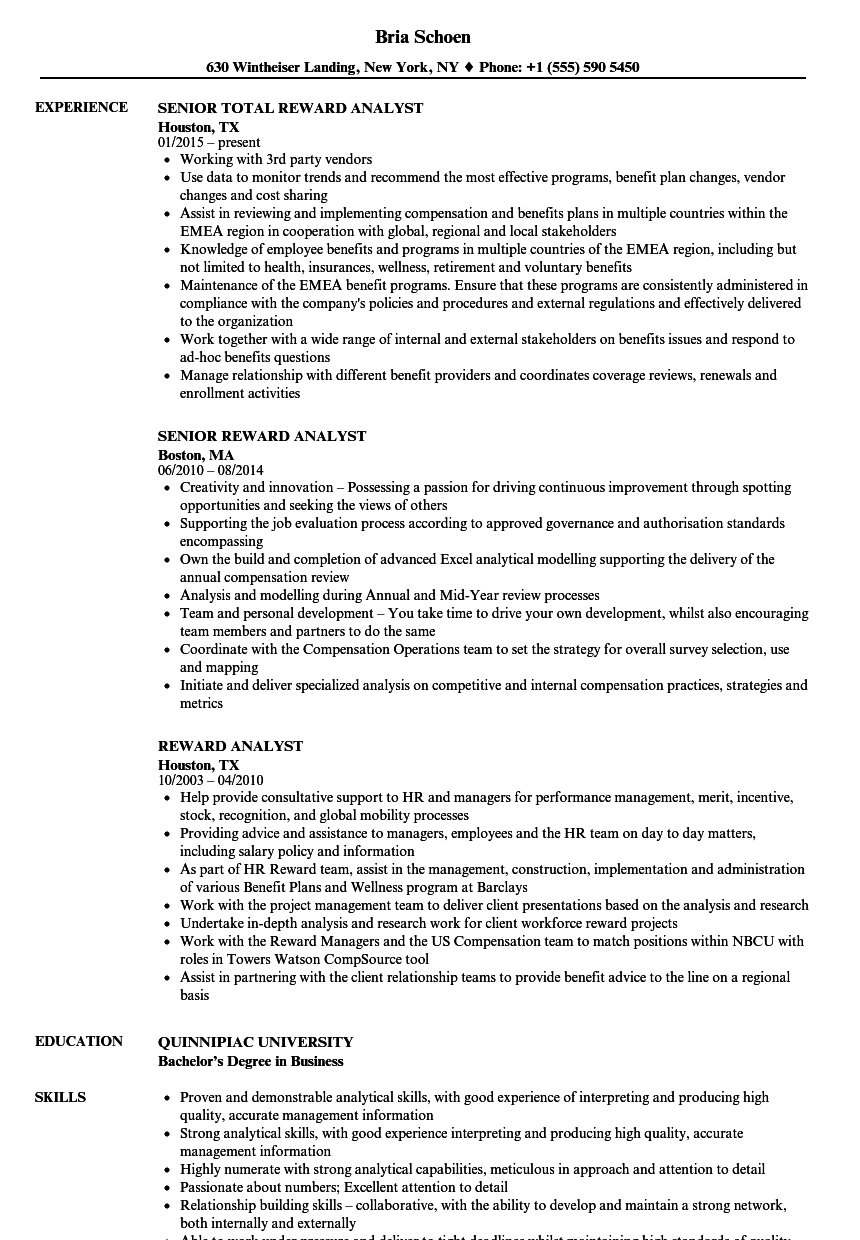 Reward Analyst Resume Samples Velvet Jobs