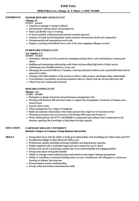 Reward Consultant Resume Samples Velvet Jobs