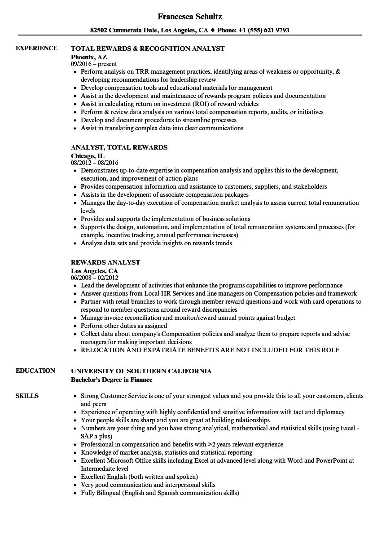 Rewards Analyst Resume Samples | Velvet Jobs