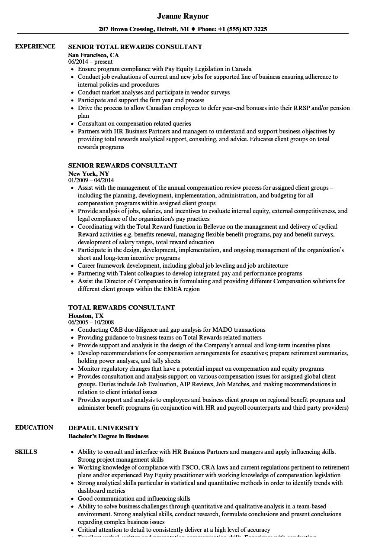 rewards consultant resume samples