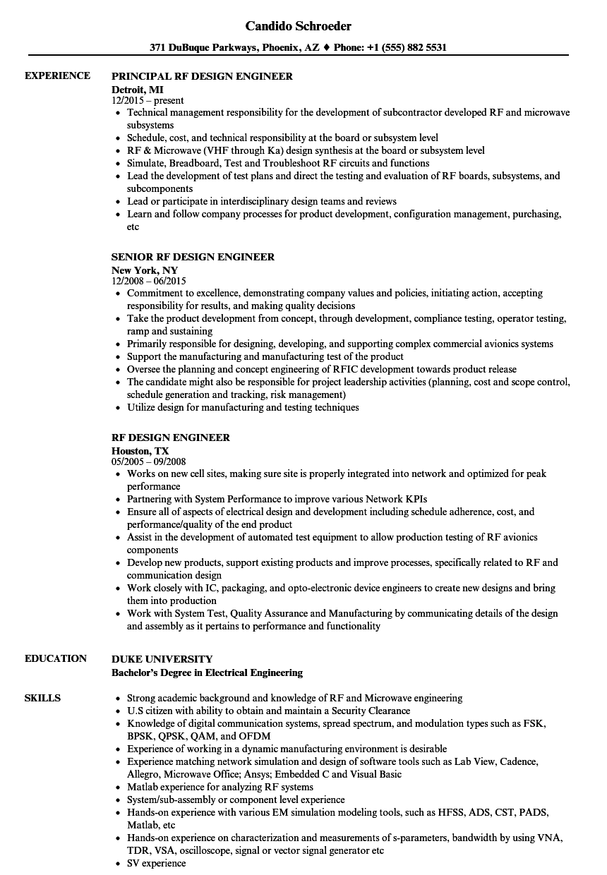 download rf design engineer resume sample as image file - Design Engineer Resume Example